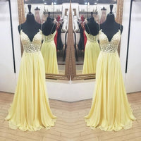 V neck Yellow Long Prom Dress with Appliques  S11423