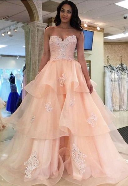 Long Prom Dresses,Applique Prom Dresses, Sweetheart Prom Gown,Layered Prom S7023