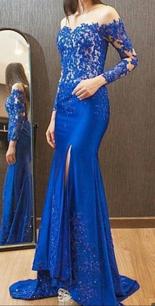 Royal Blue Long Sleeves Mermaid Evening Dress With Applique Lace Sequin Side Split Evening Gowns Sexy Sheer Illusion evening Dress S6666