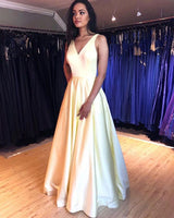 Light Yellow V-neck Simple Pleated Prom Dress with Pockets  S11544