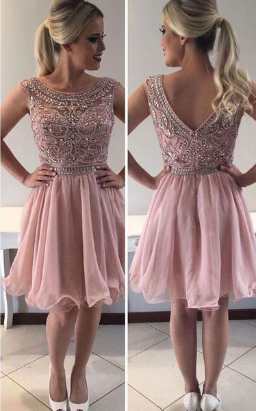 Scoop Short Homecoming Dresses with Beaded  S11858