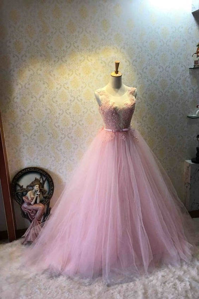 Lovely Pink Tulle Gown with Lace Applique, Charming Sweet 16 Prom Dresses S11156