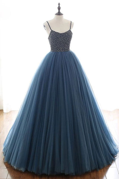 Deep Blue Tulle Spaghetti Straps Beaded Sequins Long Prom Dress S6910