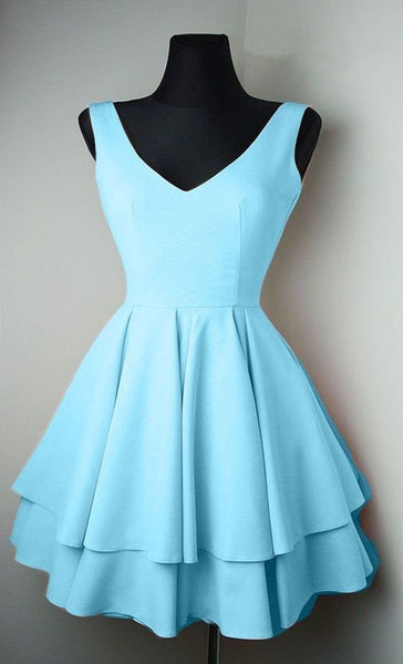 Two Layers Lovely Homecoming Dresses,Blue Graduation Dresses S11188
