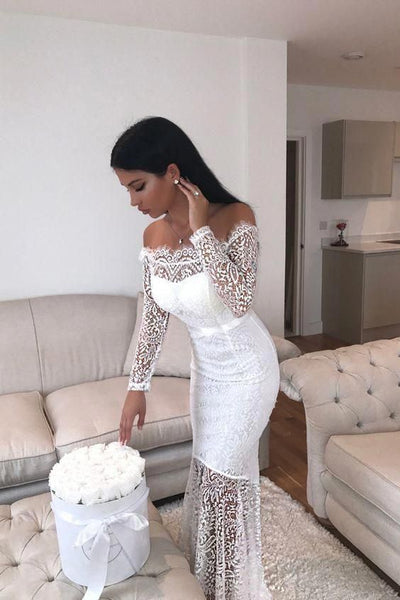 Mermaid Off-the-Shoulder Long Sleeves Floor-Length White Lace Prom Dress S6882