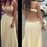 Sexy Open Back Formal Chiffon Cheap Long Prom Dress  S6821
