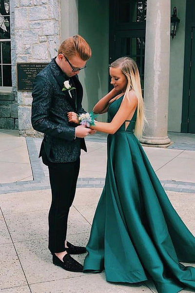 Dark Green Long Prom Dress with Pockets  S12231