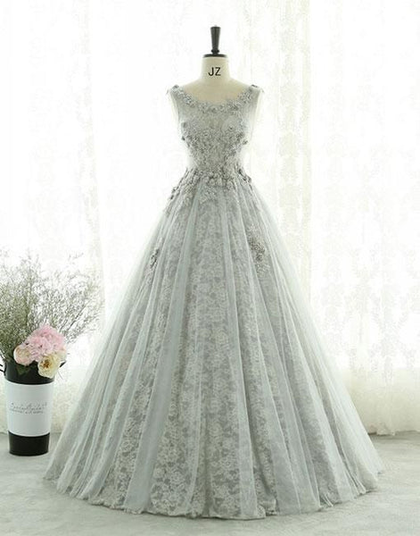 Gray Lace Tulle Long Prom Dresses, Gray Evening Dresses S12179