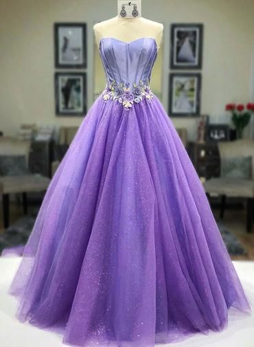 Sweetheart Neck Purple Tulle Floor Length Lace Up Senior Prom Dress With Applique S11385