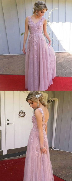 Pink V Neck Sleeveless Lace Backless Long Prom Dress With Lace Appliques S11288