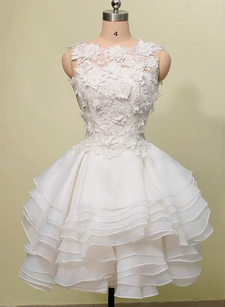 Lovely Layers Short Homecoming Dress with Lace Flowers, Cute Graduation Dress S11068
