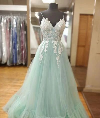 Spaghetti Straps Mint Green and White Long Prom Dress S11085