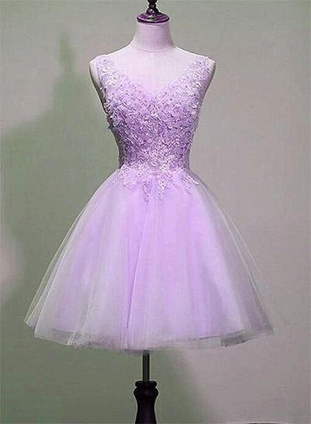 Cute Lavender Tulle V-neckline Homecoming Dress  S11190
