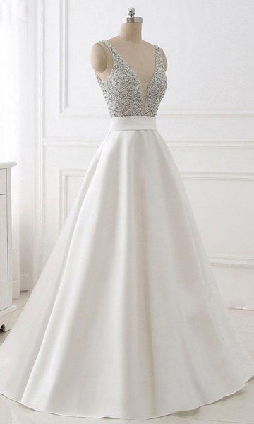 Sequin Long White Prom Dresses with Plunge V-neck  S12102