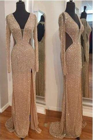 Sequins Long Sleeves Sheath Prom Dresses S11681