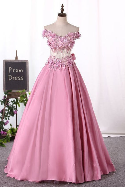 Prom Dress Boho, New Arrival Prom Dresses Off The Shoulder Satin With Appliques And Handmade Flowers S7092