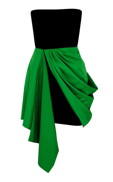 Strapless  Green And Black Homecoming  Dress S6800