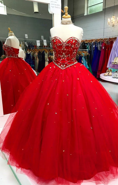 Red Prom Dress, Crystal Quinceanera Dress, Lace-up Quinceanera Dress S12195