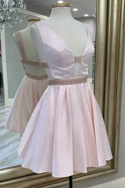 Plunge Pink Homecoming Dress Short With Lovely Belt S12206