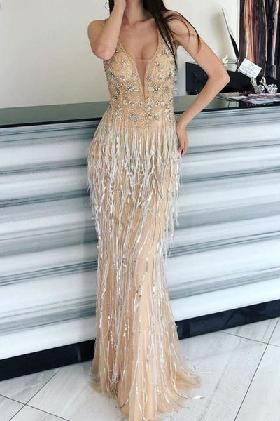 Glitter Tassel Mermaid Champagne Prom Dress S12039