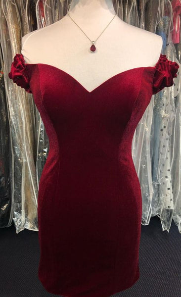 Off the Shoulder Red Velvet Short Party Dress S6962