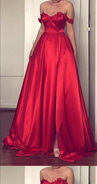 Lace Flowers Sweetheart Prom Dress,Off The Shoulder Long Satin Prom Dresses S6703