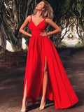 Sexy Straps Red V neck Long Evening Dress, Red Prom Party Dress with Slit  S6829