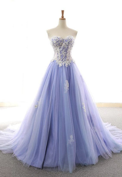 Purple Tulle Lace Long Prom Dress Evening Dress S11387