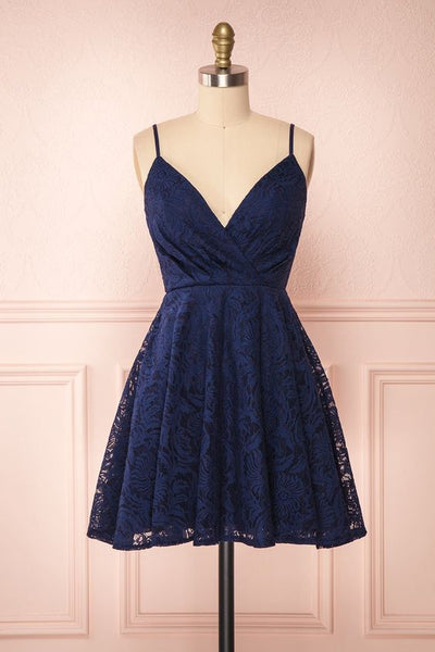 Navy Lace A-Line Homecoming Dress S11249
