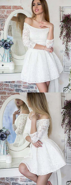 Glamorous A Line Off the Shoulder Long Sleeves White Lace Short Homecoming Dress  S663