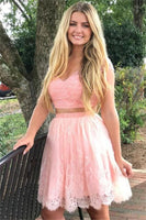 2 Pieces Short Pink Cap Sleeves Beading Lace V-neck Homecoming Dresses For Teens   S675