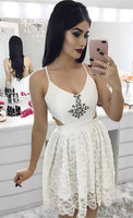 A-Line Spaghetti Straps Short White Homecoming Dress with Beading S67