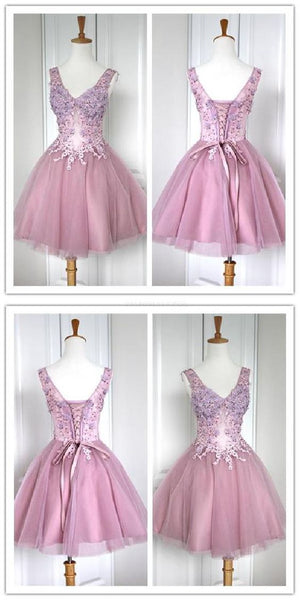 Suitable  Dress, Lace Dress, Pink Homecoming Dress    S683