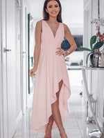 V Neck Pink High Low Prom Dresses, Pink High Low Graduation Formal Evening Dresses  S691