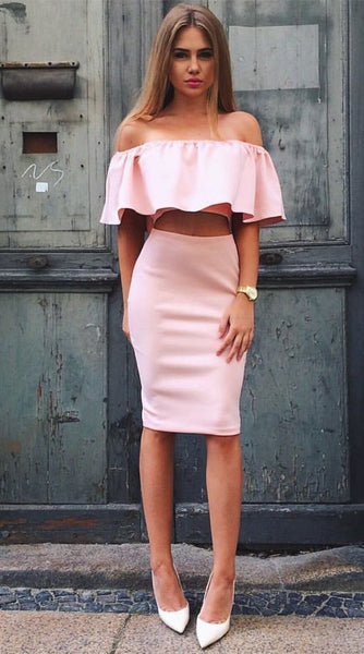 Two Piece Off-the-Shoulder Knee-Length Pink Homecoming Dress with Ruffles   S695