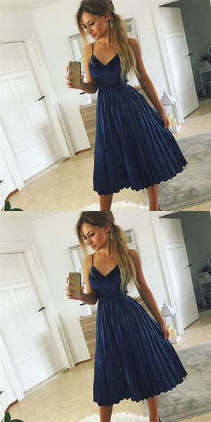Spaghetti Homecoming Dresses, Navy Homecoming Dresses,Homecoming Dresses S69