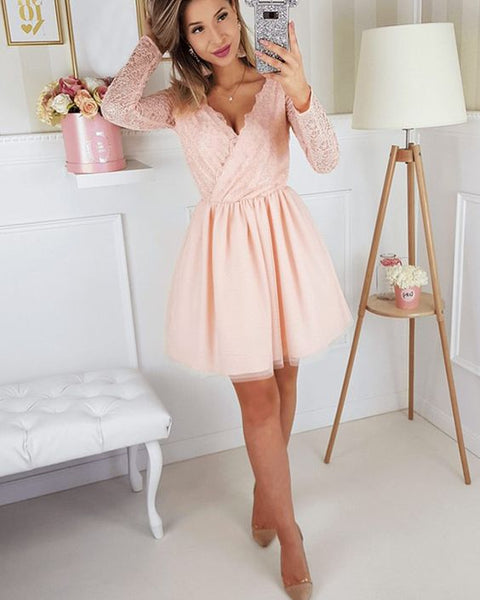 V-neck Lace Pink Chiffon Homecoming Dress with Long Sleeves  S707