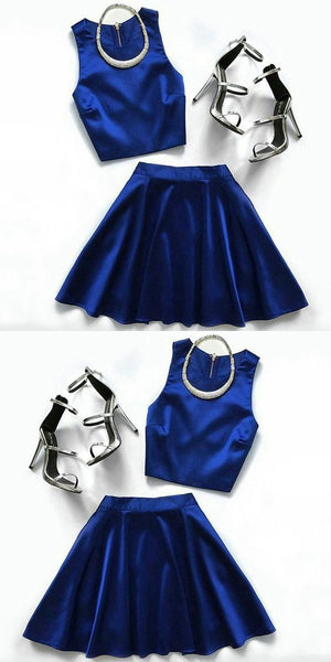 Two Piece Homecoming Dresses Royal Blue Simple Short Prom Dress Party Dress    S716