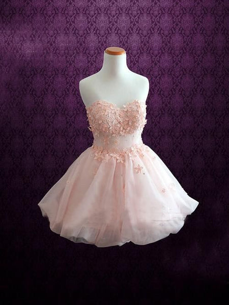 Chic Homecoming Dress Sweetheart A Line Hand Made Flower Cute Short Prom Dress Party Dress S718