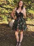 Floral Spaghetti Straps Short Black Lace Homecoming Dress S719