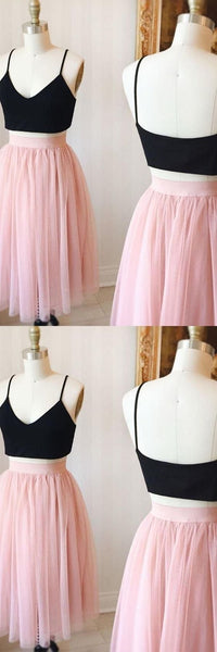 Two Piece Homecoming Dresses Aline Black and Pink Short Prom Dress Simple Party Dress S721