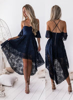 A-Line Off The Shoulder Navy Blue Lace High Low Homecoming dress S72