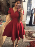 Cute Short V Neck Cap Sleeves Burgundy Satin Homecoming Dresses   S746