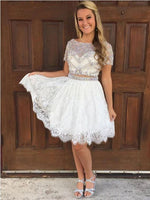 Cap Sleeves Rhinestone Two Pieces Short Homecoming Dresses    S747
