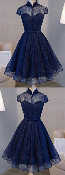 Short Prom Dresses, A-line High-Neck Mini Tulle Short Homecoming Dresses S74