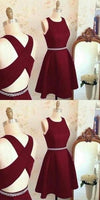 Lovely Cute Prom Dress, Short Prom Dress, Burgundy Homecoming Dress, Prom Party Dress  S752