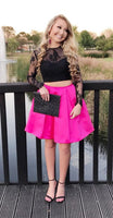 Two Piece Lace Long Sleeves Black and Hot Pink Homecoming Dress  S754