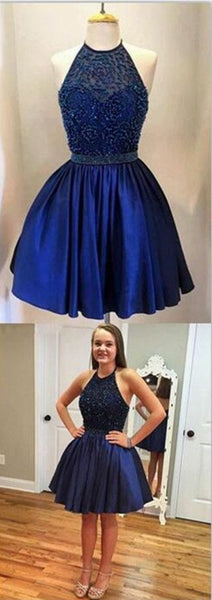 Chic Halter Beading A-line Short Navy Blue Homecoming Dress S75