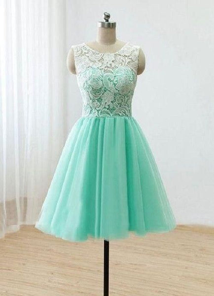Mint Lace Top Tulle Junior Cheap Short Homecoming  Dresses S760