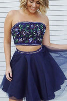 Two Piece Strapless Short Navy Blue Homecoming Dress with Appliques Beading S766